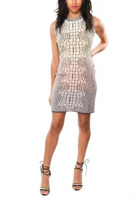 Grey Scale Printed Knit Mini Dress