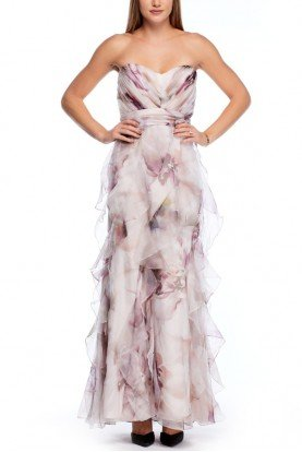 Multi Colored Strapless Floral Silk Chiffon Gown