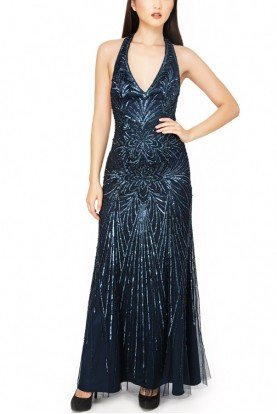 Aire Barcelona Navy Open Back Beaded Halter Evening Gown
