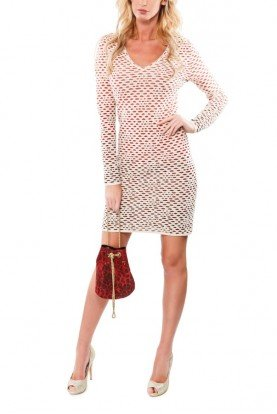 Ivory See Through Knitted Mini dress