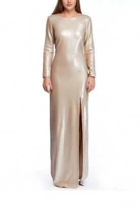 Metallic Column Sequined Evening Gown
