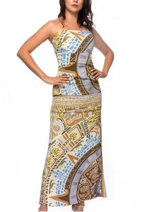 Silk Strapless Printed Maxi Dress