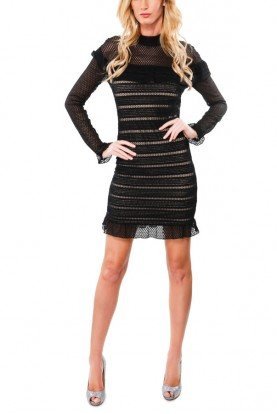 Black Laced Long Sleeve Ruffled Dress