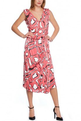 Pink White Logo Escada Printed Maxi Dress