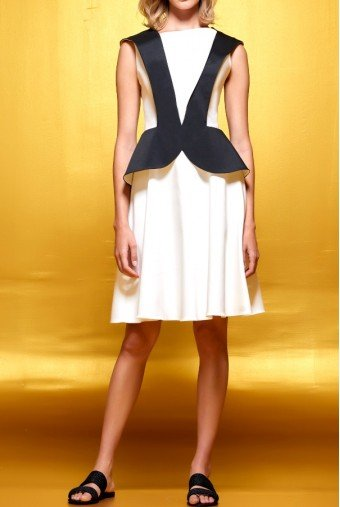 John Paul Ataker Two toned black and white structured short dress