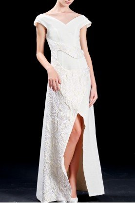 Structured jacquard cotton twill white slit dress