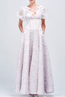 John Paul Ataker Organza ruffled jacquard textured long dress gown