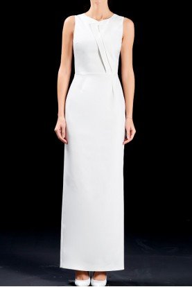 Faille structured long white dress