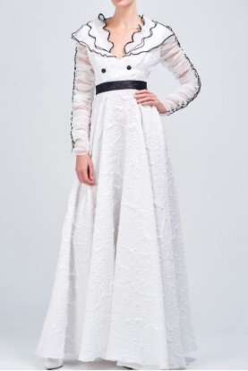 Organza layered jacquard long white dress