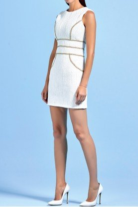 Metallic band short dress with cord detail