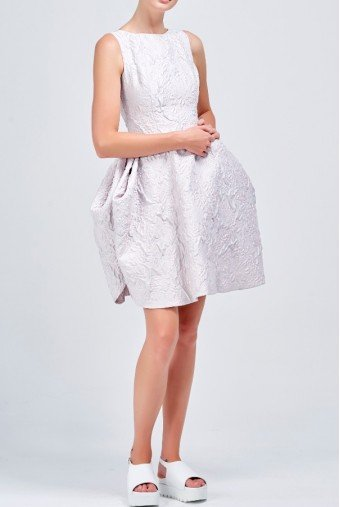 John Paul Ataker Jacquard structured light silver short dress
