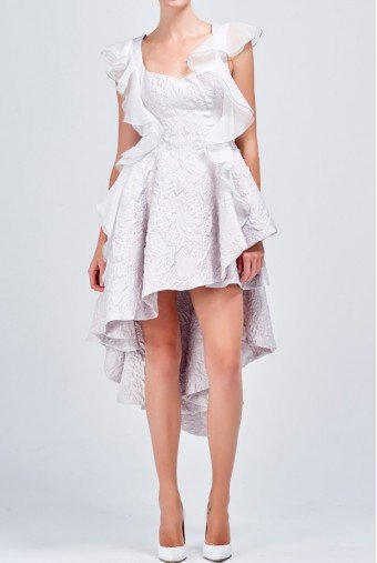 John Paul Ataker Organza ruffled jacquard short textured dress