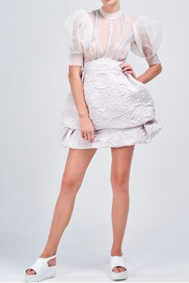 John Paul Ataker Metallic detailed organza jacquard short dress