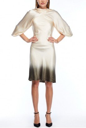 Degradee Ombre Crepe Dress