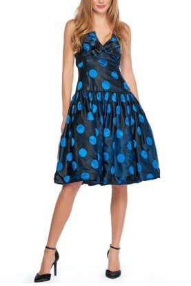 Strapless Polka Dot Taffeta Party Dress