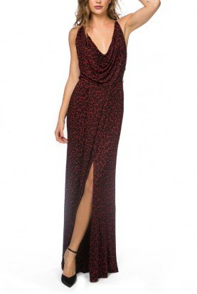 Red and Black Leopard Print Halter Gown