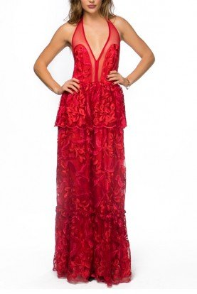 Red Floral Embroidered Lace Tiered HalterGown