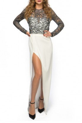 White Embroidered Metallic Long Sleeve Gown
