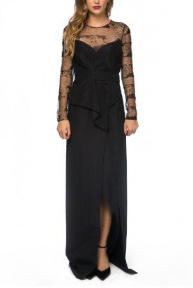Black Lace Floral Embroidered Sheer Panel Dress