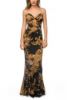 Black and Gold Fleur Printed Mermaid  Dress