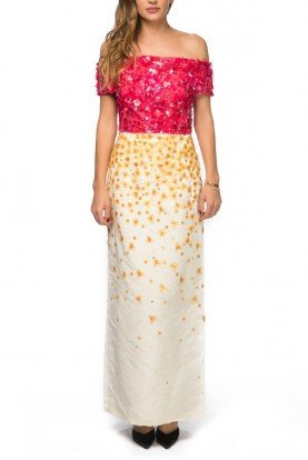 Oscar de la Renta Pink and Yellow Flower Embroidered Gown