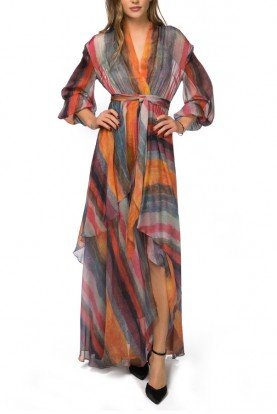 Abstract Stripped Pattern Flowy Dress