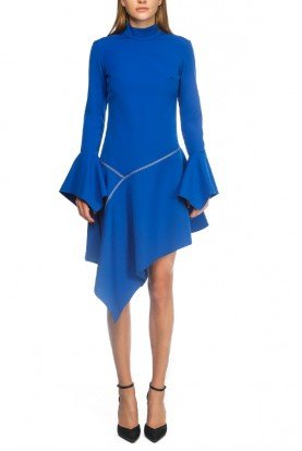 Asymmetrical Blue Ruffled Dress