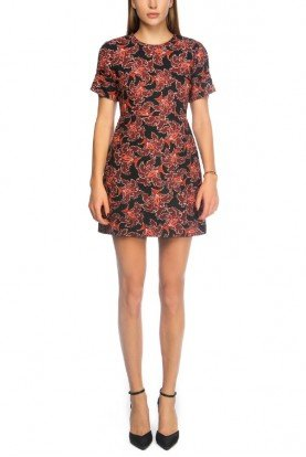 Jacquard Round Neck Mini Dress with Flower Notes