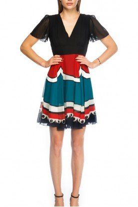 Tricolor Silk V Neck Chiffon Dress