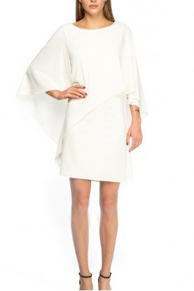 Crepe Draped White Dress