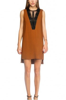 Brown V Neck Pull Over Dress