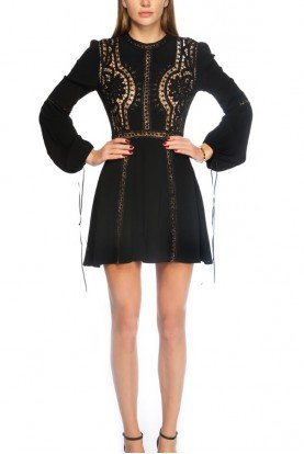 Black Floral Geometric Embroidered Crochet Dress