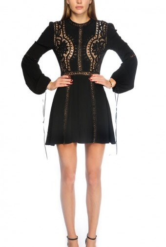 For Love and Lemons Black Floral Geometric Embroidered Crochet Dress
