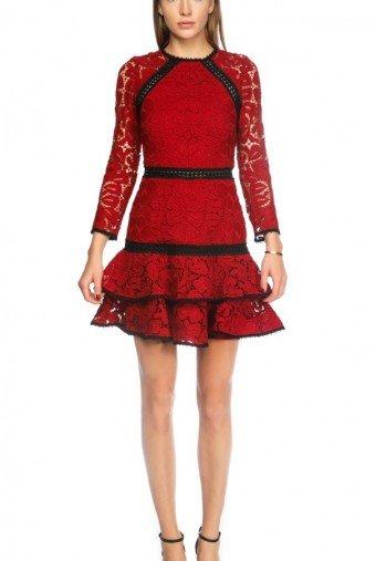 Alexis Red Lace Hourglass Cocktail Dress