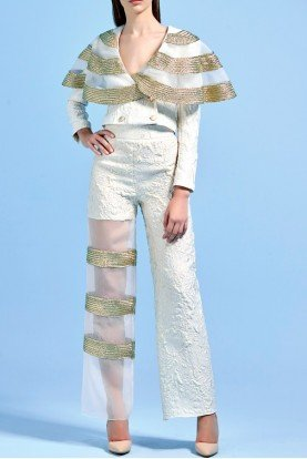 Metallic cord detailed organza and jacquard jacket