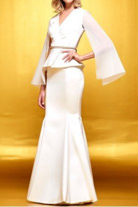 Structured faille and organza long dress
