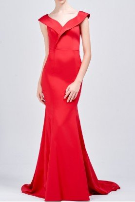 John Paul Ataker Faille structured long red dress
