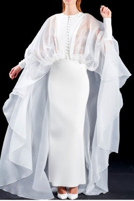 Faille long white dress with organza cape