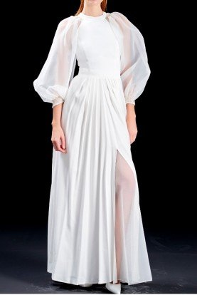 Organza and viscose satin white long sleeve dress