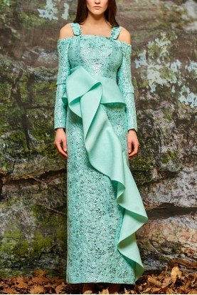 Mint Green Ruffled Floral Jacquard Gown