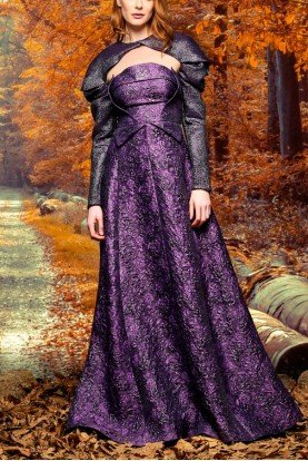 John Paul Ataker Purple Metallic Jacquard Bolero and Gown