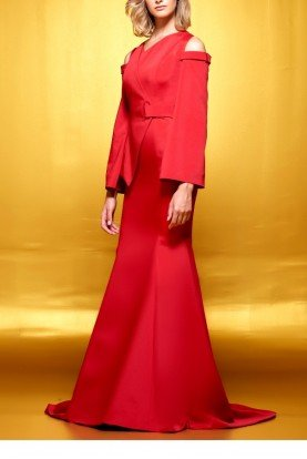 Red Structured Faille A Line Gown