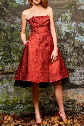 Double Breast Metallic Red Crinkled Jacquard Dress