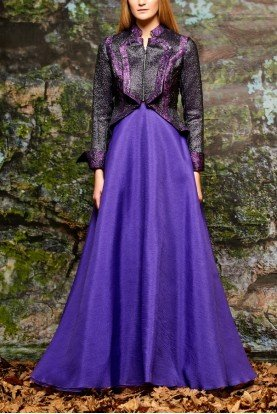 John Paul Ataker Purple Paneled Metallic Floral Jacquard Gown
