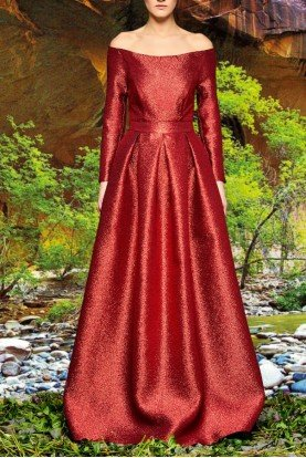 Red Off Shoulder Metallic Crinkled Jacquard Gown