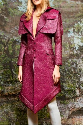Fuchsia Pocket Detailed Metallic Crinkled Jacket