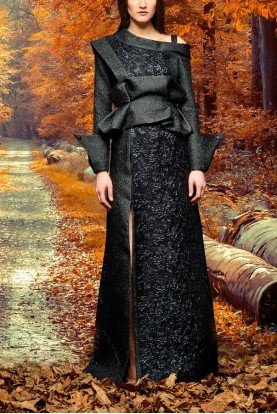 Black Asymmetric Metallic Floral Jacquard Gown