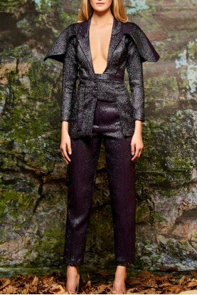 Black Cape Sleeve Metallic Crinkled Jacket