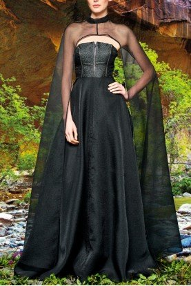 Metallic crinkle jacquard gown with organza cape