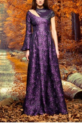 Purple Asymmetric Metallic Floral Jacquard Gown